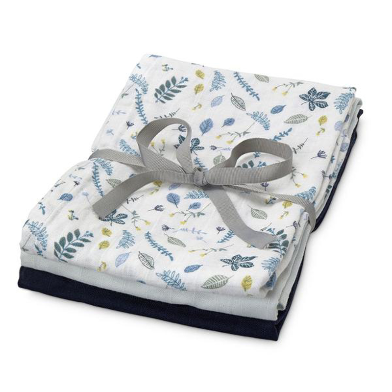 Picture of CamCam® Musling Cloth - Mix Pressed Leaves Blue, Baby Blue, Navy 3pack