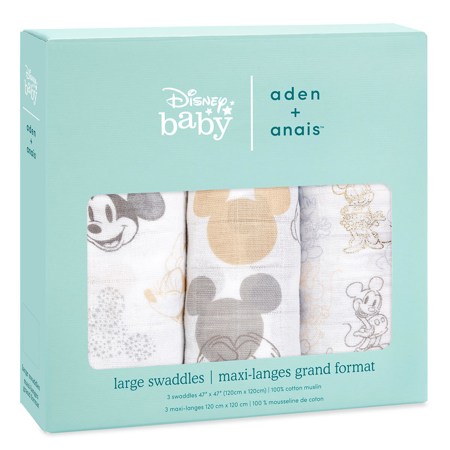 Aden+Anais® Silky Soft Swaddles 3-pack Mickey + Minnie 120x120