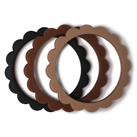 Picture of Mushie® Flower Teething Bracelet Black/Caramel/Natural 3-pack