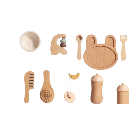 Picture of Petit Monkey® Wooden baby feeding set