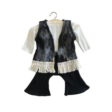 Minikane® Black set in organic cotton Gina 34cm