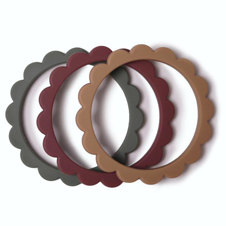 Picture of Mushie® Flower Teething Bracelet Berry/Dried Thyme/Natural 3-pack