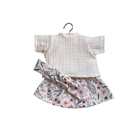 Picture of Minikane® Esemble dress in organic cotton Réjane Ecru with handband 34cm