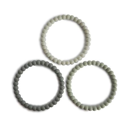 Picture of Mushie®  Teething Bracelet Green Tea/Cool Gray/Sea Salt3-pack