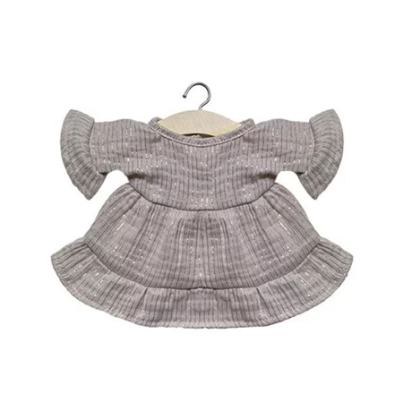 Minikane® Esemble dress in organic cotton Lucia Lurex Beige 34cm