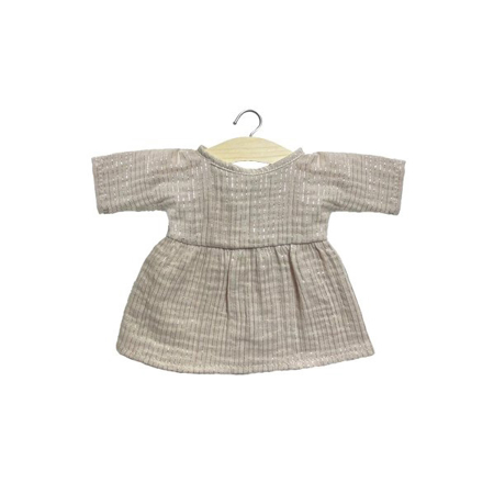 Minikane® Esemble dress in organic cotton Faustine Lurex Beige 32cm