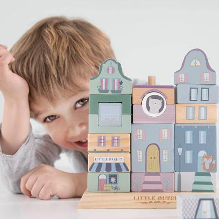 Picture of Little Dutch® Wooden Building blocks Blue