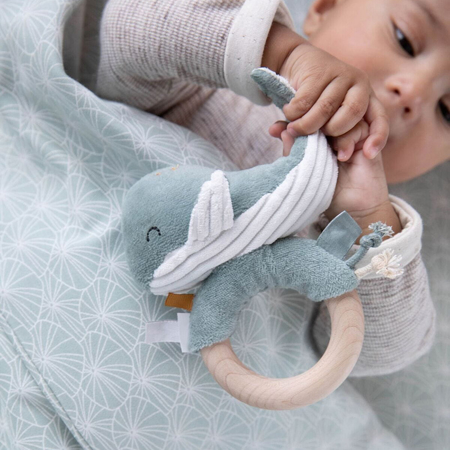 Picture of Little Dutch® Rattle with Wooden Teething Ring Whale Fish Ocean Blue