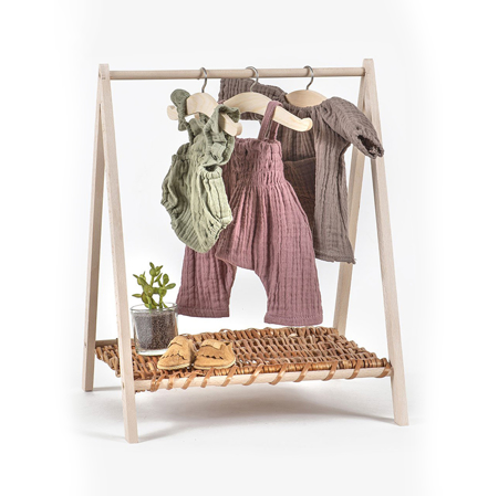 Minikane® Wendy - Clothes rack in natural wood & wicker