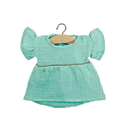 Minikane® Esemble dress in organic cotton Daisy Green Water Gold 34cm