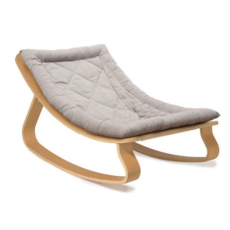 Charlie Crane® Baby Rocker LEVO Beech with Sweet Grey cushion
