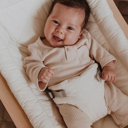 Picture of Charlie Crane® Baby Rocker LEVO Beech with Aruba Blue cushion