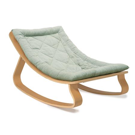 Charlie Crane® Baby Rocker LEVO Beech with Aruba Blue cushion
