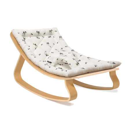 Picture of Charlie Crane® Baby Rocker LEVO Beech with Rose in April cushion