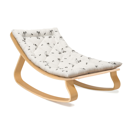 Charlie Crane® Baby Rocker LEVO Beech with Rose in April cushion