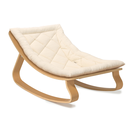 Charlie Crane® Baby Rocker LEVO Beech with Organic Cotton cushion