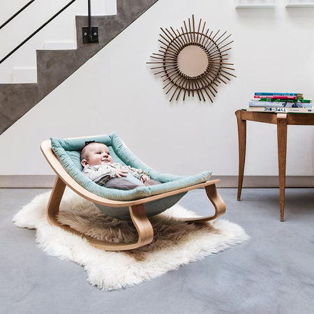 Picture of Charlie Crane® Baby Rocker LEVO Beech with Hibiscus cushion