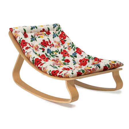 Charlie Crane® Baby Rocker LEVO Beech with Hibiscus cushion