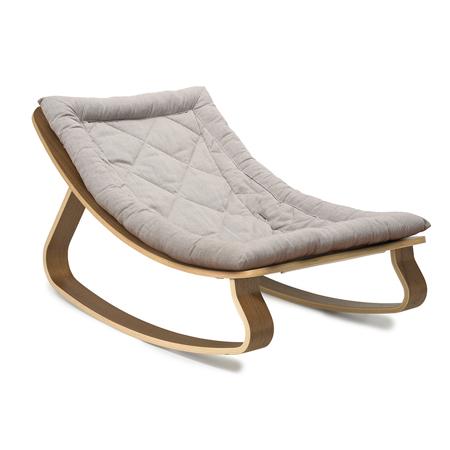 Charlie Crane® Baby Rocker LEVO Walnut with Sweet Grey cushion