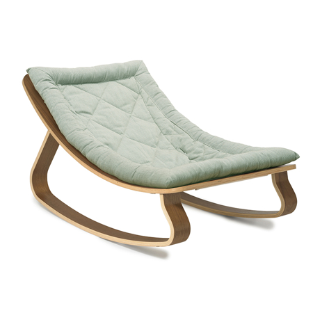 Charlie Crane® Baby Rocker LEVO Walnut with Aruba Blue cushion