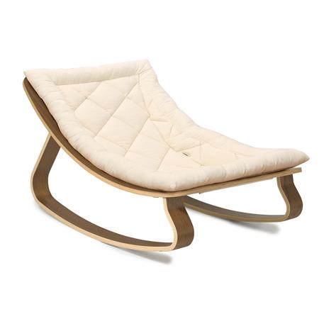 Charlie Crane® Baby Rocker LEVO Walnut with Organic White cushion