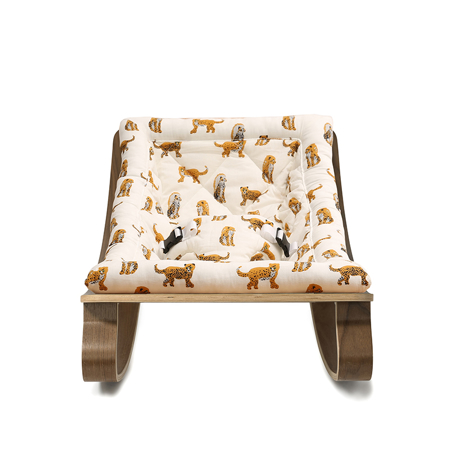 Charlie Crane® Baby Rocker LEVO Walnut with Jaguar cushion