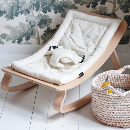 Picture of Charlie Crane® Baby Rocker LEVO Walnut with Hibiscus cushion