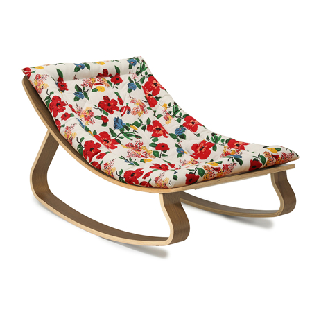 Charlie Crane® Baby Rocker LEVO Walnut with Hibiscus cushion