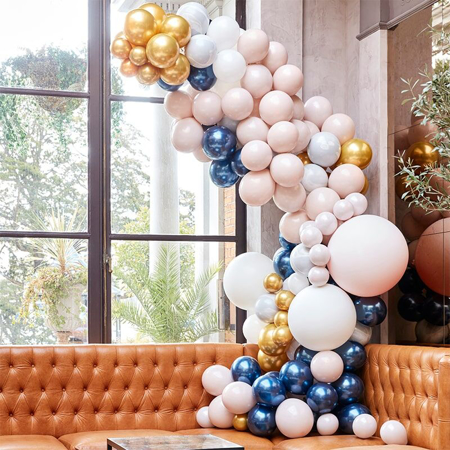 Picture of Ginger Ray® Balloon Arch Kit Luxe Marble, Navy & Gold Chrome