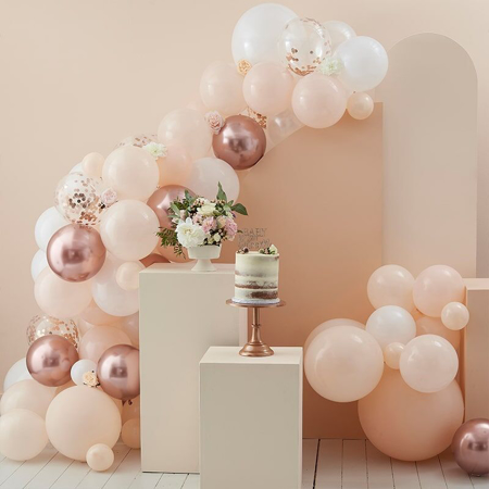 Picture of Ginger Ray® Balloon Arch Peach, White and Rose Gold