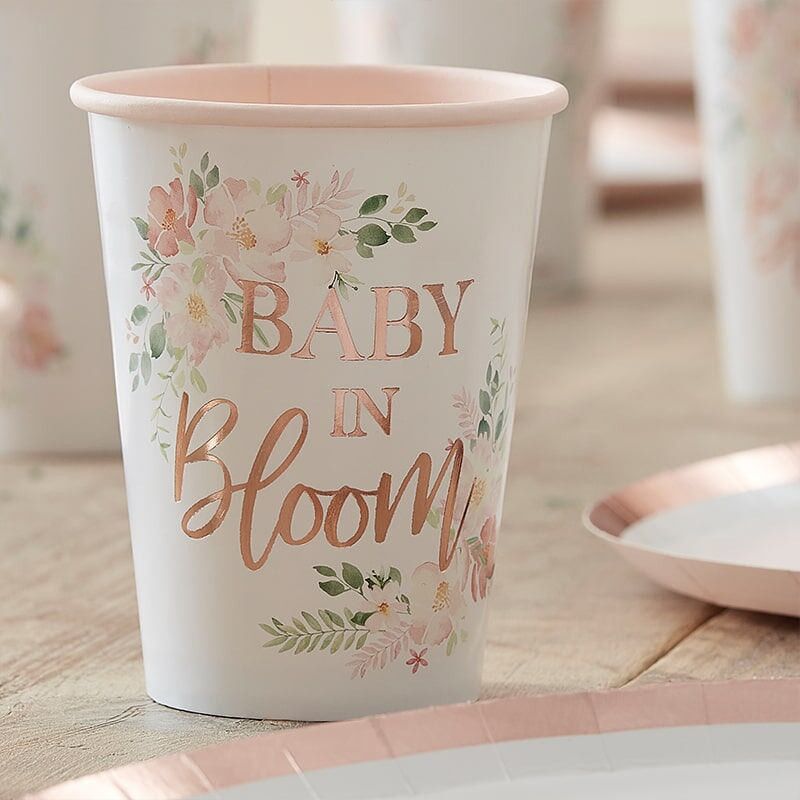 Picture of Ginger Ray® Gold Foiled Baby Shower Paper Cups Baby in Bloom