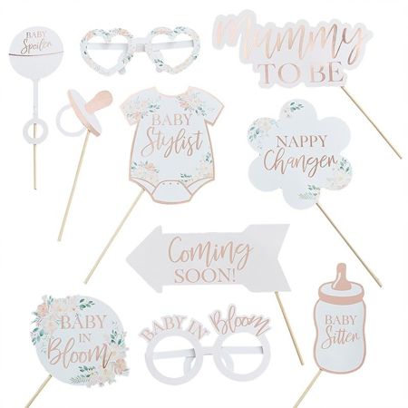 Ginger Ray® Gold Foiled Photo Booth Props Baby in Bloom