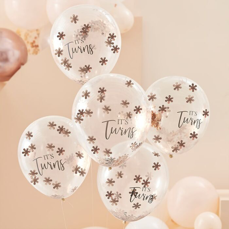 Picture of Ginger Ray® Rose Gold Confetti Balloons It's Twins