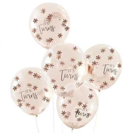 Ginger Ray® Rose Gold Confetti Balloons It's Twins