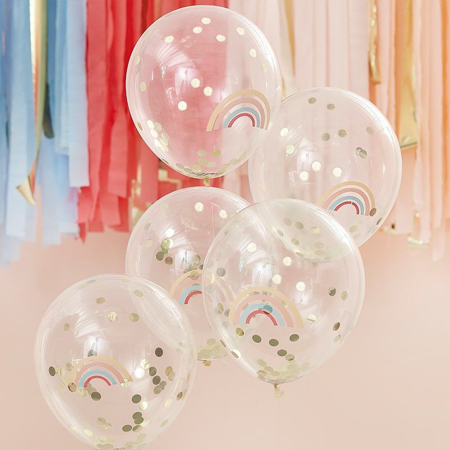 Picture of Ginger Ray® Rainbow Gold Confetti Balloons