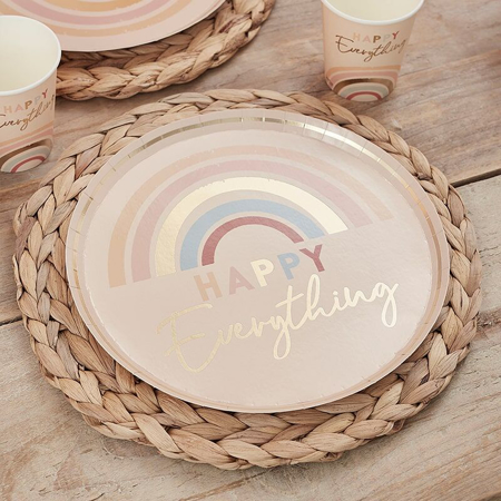 Picture of Ginger Ray® Happy Everything Natural Rainbow Plates