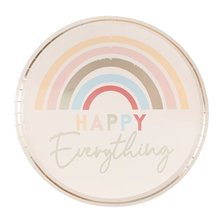 Ginger Ray® Happy Everything Natural Rainbow Plates