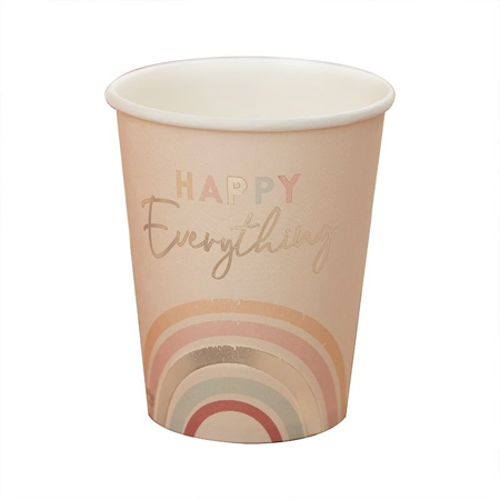 Ginger Ray® Happy Everything Natural Rainbow Birthday Party Cups
