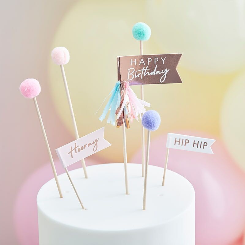 Picture of Ginger Ray® Okraski za slaščice Mix It Up Happy Birthday Pom Poms  Pastel 12 kosov