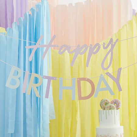 Picture of Ginger Ray® Bunting Mix It Up Happy Birthday Pastel