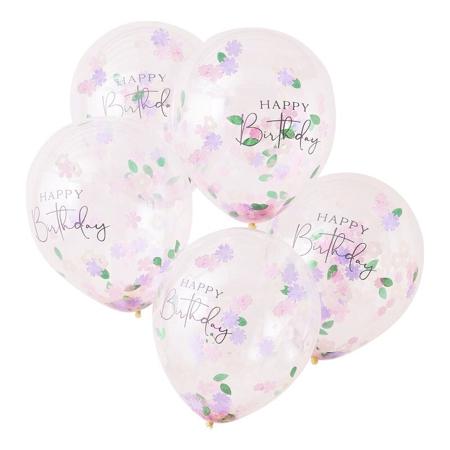Ginger Ray® Balloons Confetti Happy Birthday 5pcs.