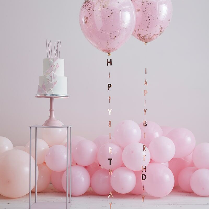 Picture of Ginger Ray®  Balloon Tails Happy Birthday Mix It Up Rose Gold