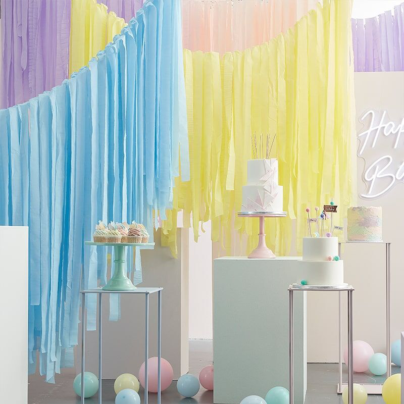 Picture of Ginger Ray® Balloon and Streamer Backdrop Mix It Up  Brights Rainbow