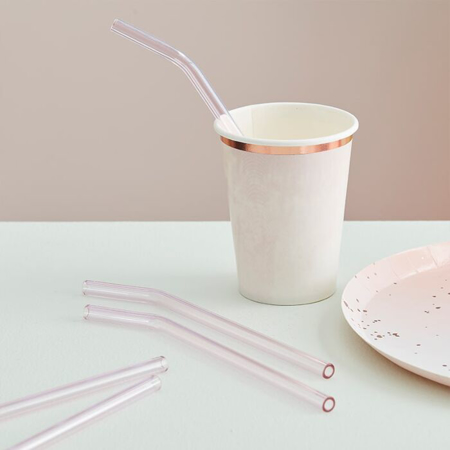 Picture of Ginger Ray® Pink Glass Reusable Straws 4pcs