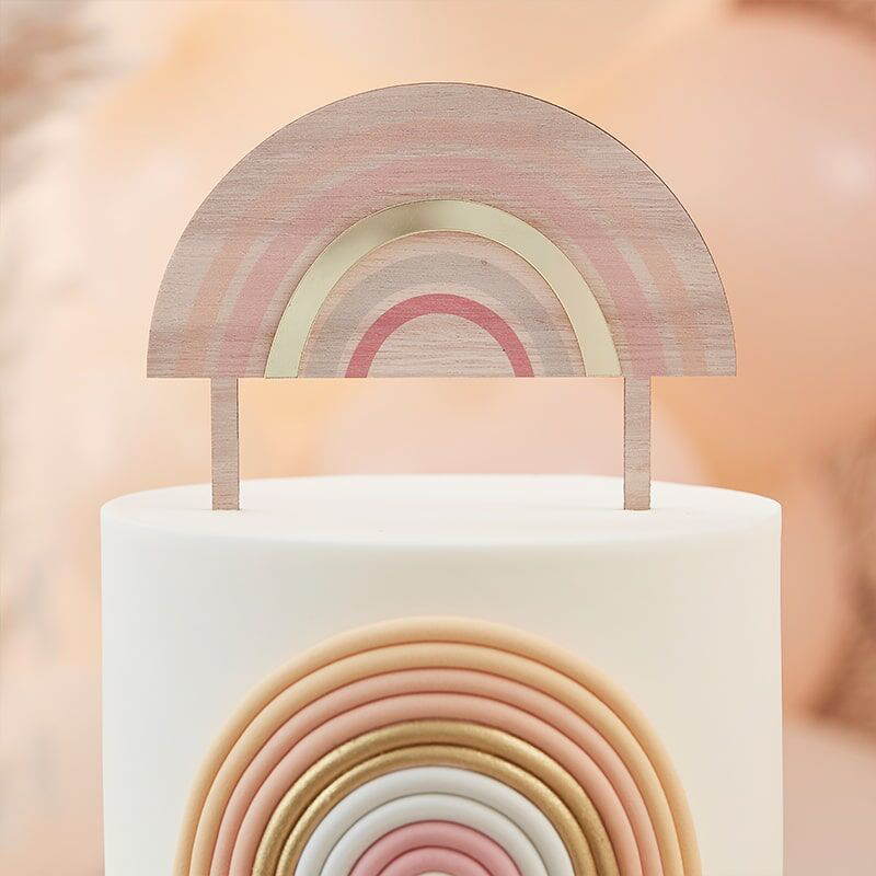 Picture of Ginger Ray® Wooden Rainbow Happy Everything Topper
