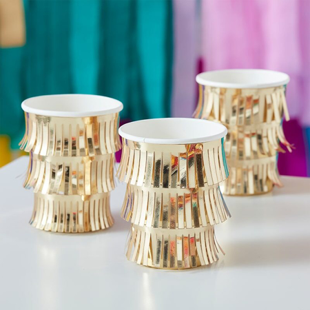 Picture of Ginger Ray® Fringe  Gold Paper Cups