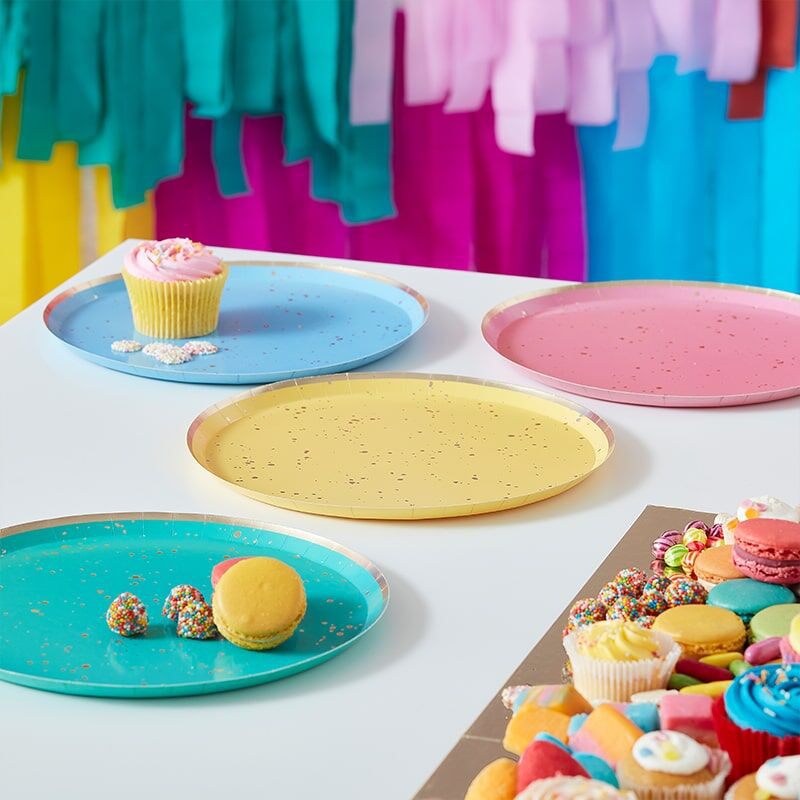 Picture of Ginger Ray® Pastel paper plates Mix It Up Flecked Rainbow 8 pcs