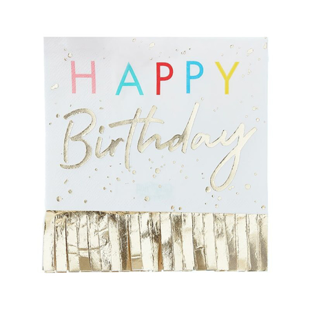 Ginger Ray®  Napkins Happy Birthday Mix It Up Fringed Gold  16 pcs.