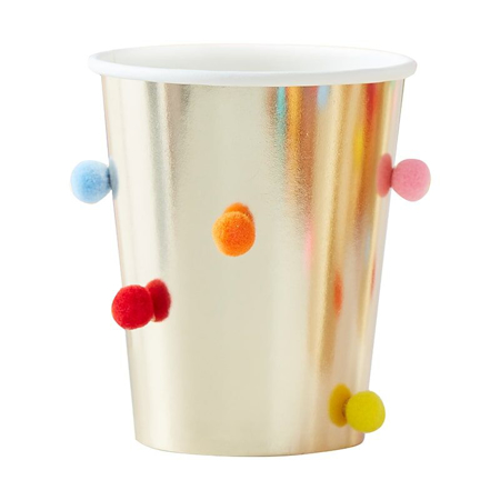 Ginger Ray® Paper Cups Rainbow Pom Pom Gold