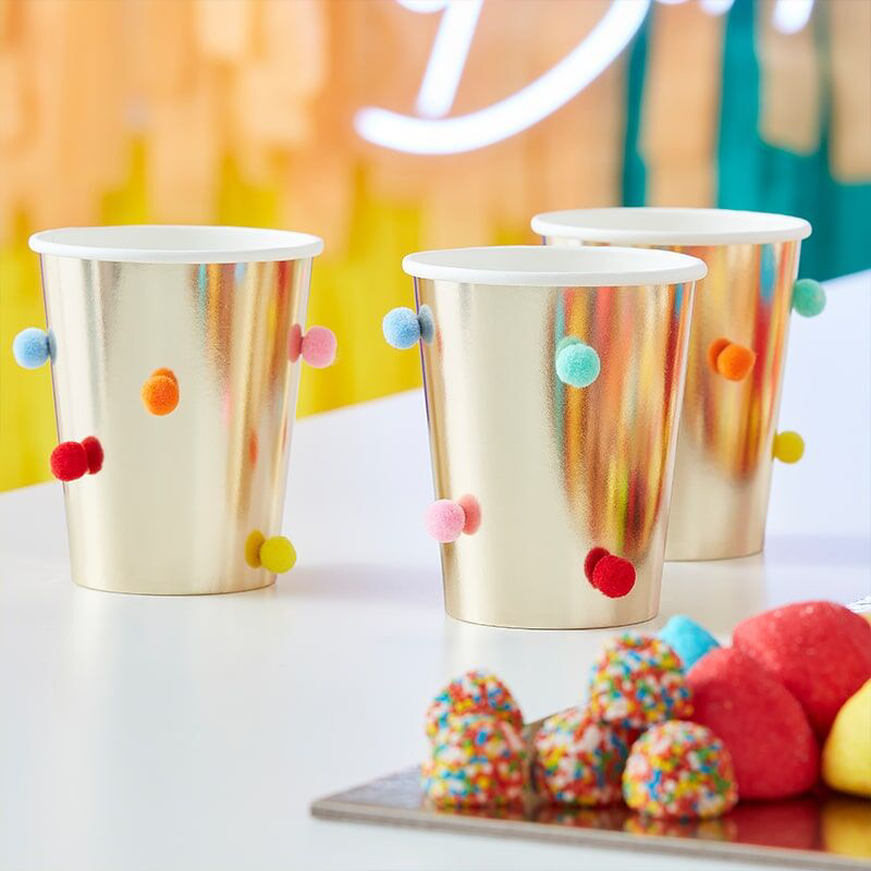 Picture of Ginger Ray® Paper Cups Rainbow Pom Pom Gold